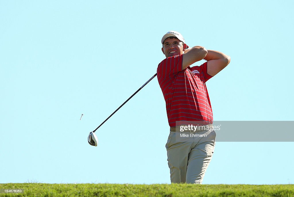 Padraig Harrington of Ireland hits his tee shot on the 18th hole during the final round of the PGA Grand Slam of Golf at Port Royal Golf Course on October 24, 2012 in Southampton, Bermuda.