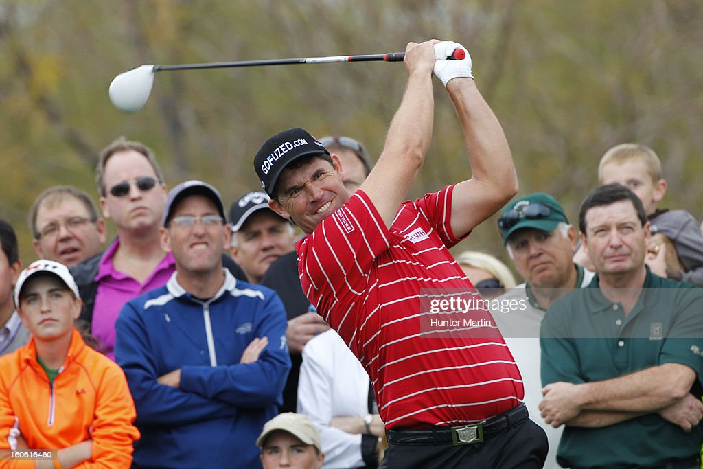 Padraig Harrington of Ireland hits his tee shot on the ninth hole during the final round of the Waste Management Phoenix Open at TPC Scottsdale on February 3, 2013 in Scottsdale, Arizona.