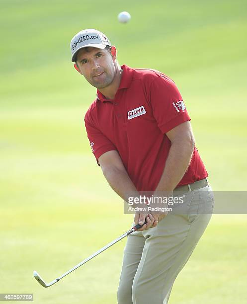 Padraig Harrington of Ireland in action during practice prior to the start of the Abu Dhabi HSBC Golf Championship at the Abu Dhabi Golf Cub on...