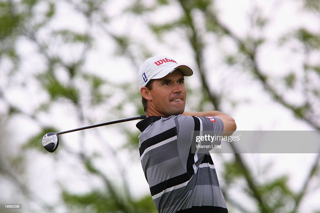 Padraig Harrington of Ireland in action during the final round of the Benson and Hedges International Open held on May 12 2002 at the Belfy in Sutton...