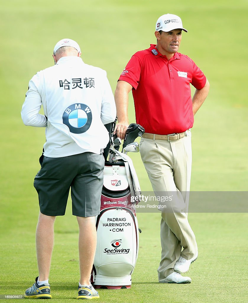 Padraig Harrington of Ireland in action during the third round of the BMW Masters at Lake Malaren Golf Club on October 26, 2013 in Shanghai, China.