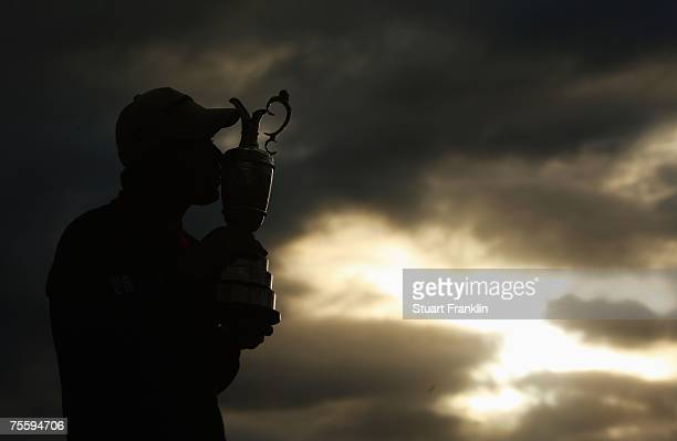 Padraig Harrington of Ireland kisses the Claret Jug after winning The 136th Open Championship at the Carnoustie Golf Club on July 22 2007 in...