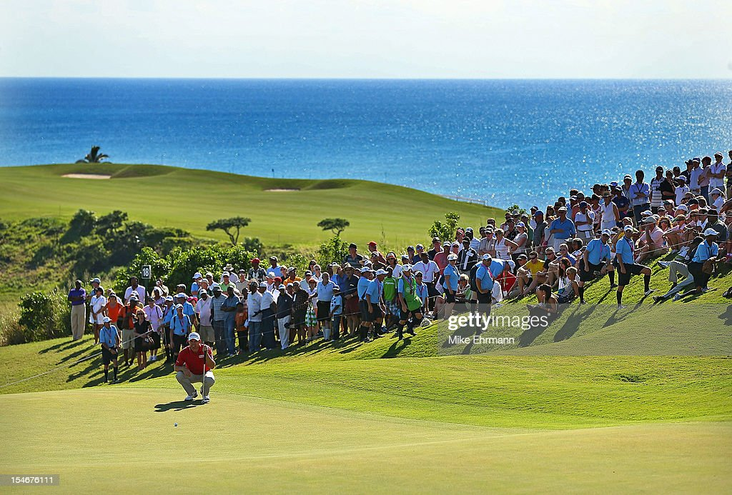 Padraig Harrington of Ireland lines up a putt on the 18th hole during the final round of the PGA Grand Slam of Golf at Port Royal Golf Course on October 24, 2012 in Southampton, Bermuda.
