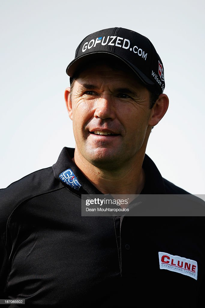 Padraig Harrington of Ireland looks on after he putts on the 5th green during the pro-am as a preview for the Turkish Airlines Open at Montgomerie Maxx Royal Course on November 6, 2013 in Antalya, Turkey.