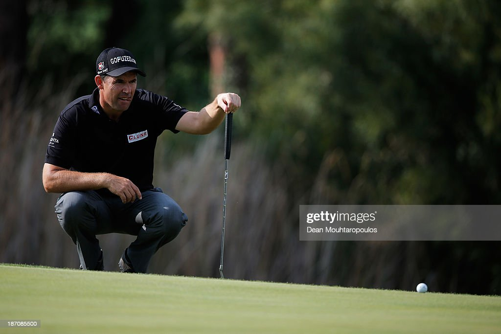 Padraig Harrington of Ireland looks on before he putts on the 5th green during the pro-am as a preview for the Turkish Airlines Open at Montgomerie Maxx Royal Course on November 6, 2013 in Antalya, Turkey.
