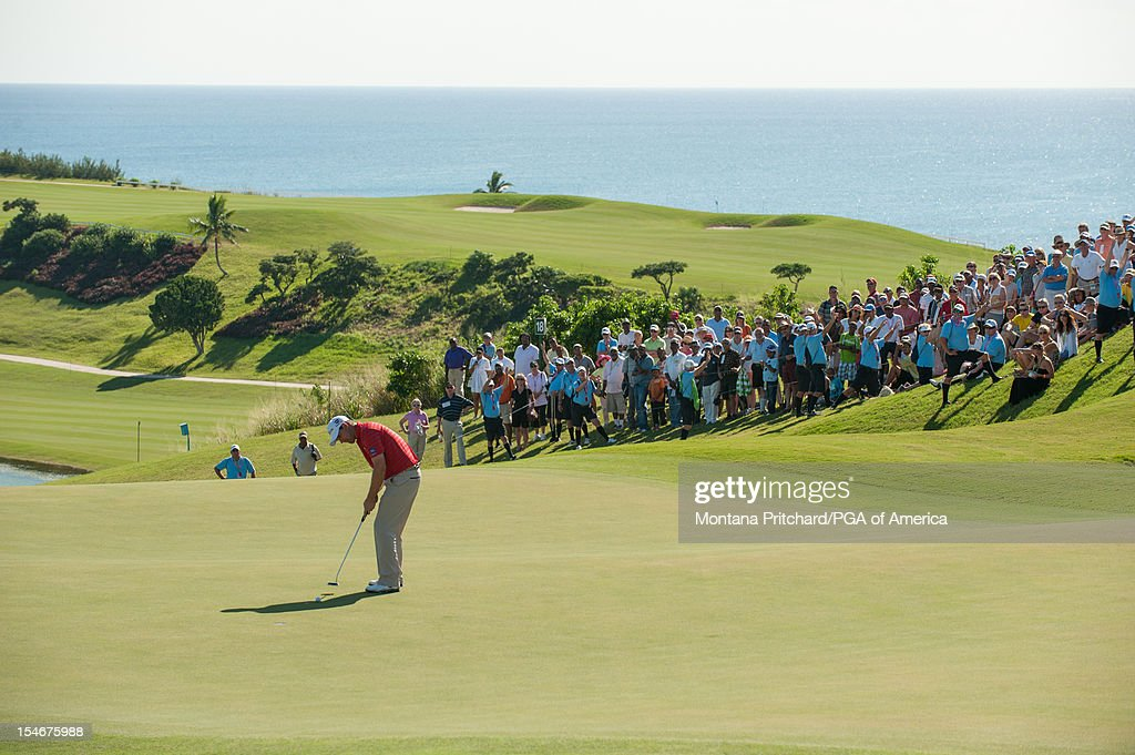 Padraig Harrington of Ireland makes his final shot during the final round of play at The Port Royal Golf Club for the 30th Grand Slam of Golf on October 24, 2012 in Southampton, Bermuda.