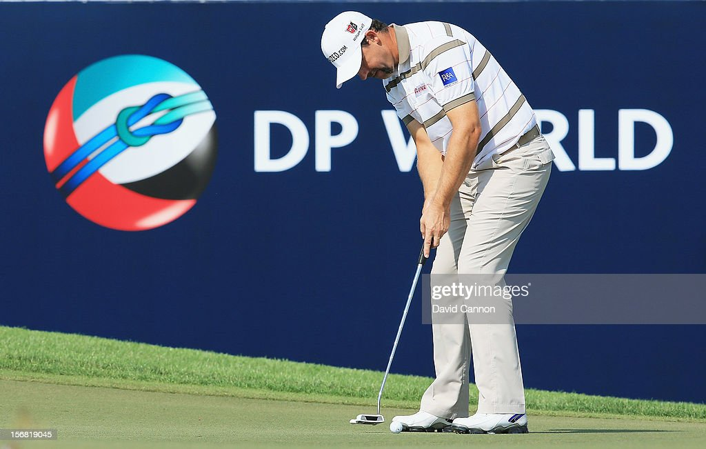 Padraig Harrington of Ireland on the green at the par 5, 18th hole during the first round of the 2012 DP World Tour Championship on the Earth Course at Jumeirah Golf Estates on November 22, 2012 in Dubai, United Arab Emirates.