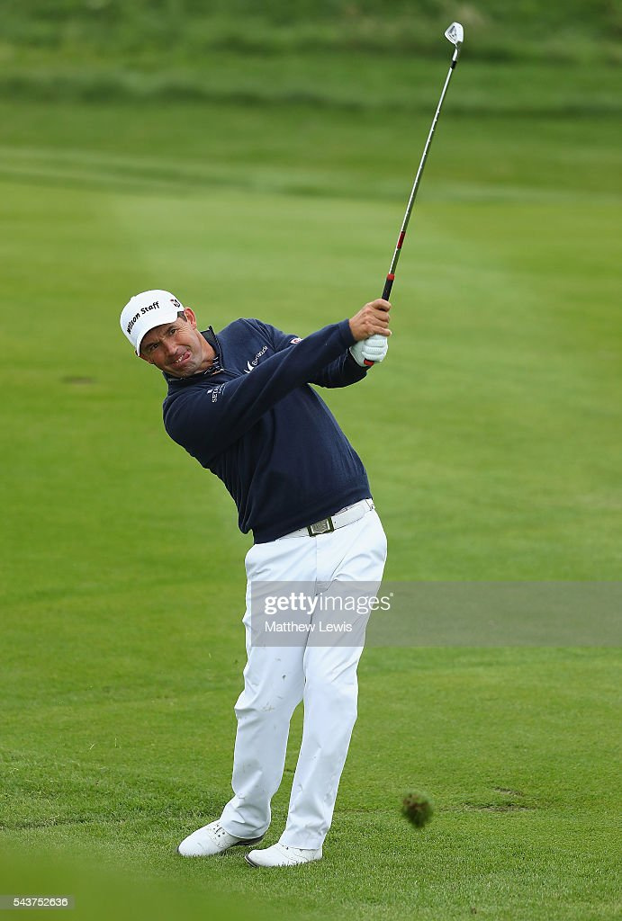 <a gi-track='captionPersonalityLinkClicked' href=/galleries/search?phrase=Padraig+Harrington&family=editorial&specificpeople=175865 ng-click='$event.stopPropagation()'>Padraig Harrington</a> of Ireland plays a shot during day one of the 100th Open de France at Le Golf National on June 30, 2016 in Paris, France.
