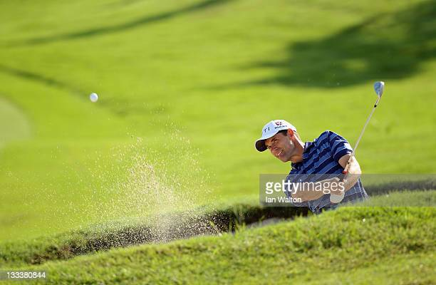 Padraig Harrington of Ireland plays a shot during round two of the Iskandar Johor Open at the Horizon Hills Golf Country Club on November 19 2011 in...