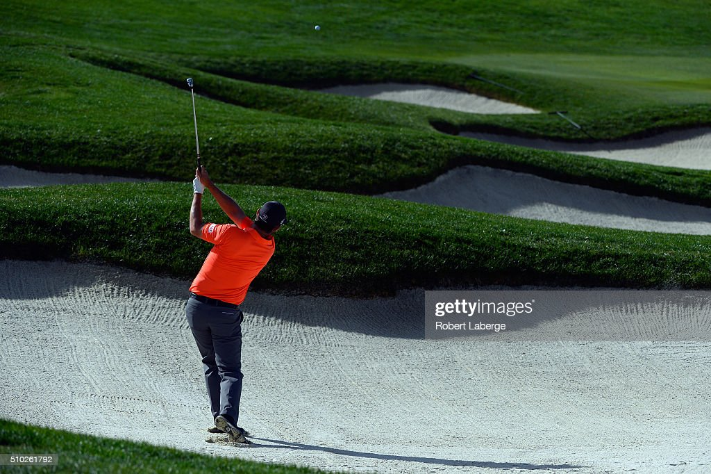 <a gi-track='captionPersonalityLinkClicked' href=/galleries/search?phrase=Padraig+Harrington&family=editorial&specificpeople=175865 ng-click='$event.stopPropagation()'>Padraig Harrington</a> of Ireland plays a shot from the bunker on the sixth hole during the final round of the AT&T Pebble Beach National Pro-Am at the Pebble Beach Golf Links on February 14, 2016 in Pebble Beach, California.