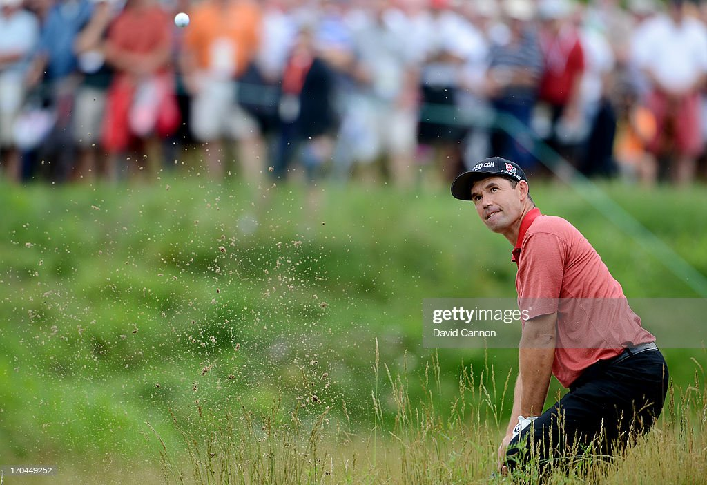 <a gi-track='captionPersonalityLinkClicked' href=/galleries/search?phrase=Padraig+Harrington&family=editorial&specificpeople=175865 ng-click='$event.stopPropagation()'>Padraig Harrington</a> of Ireland plays his second shot on the 17th hole during Round One of the 113th U.S. Open at Merion Golf Club on June 13, 2013 in Ardmore, Pennsylvania.