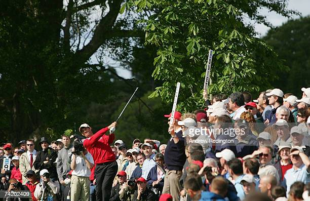Padraig Harrington of Ireland plays his second shot on the par for 15th hole during the final round of The Irish Open on May 20 2007 at the Adare...