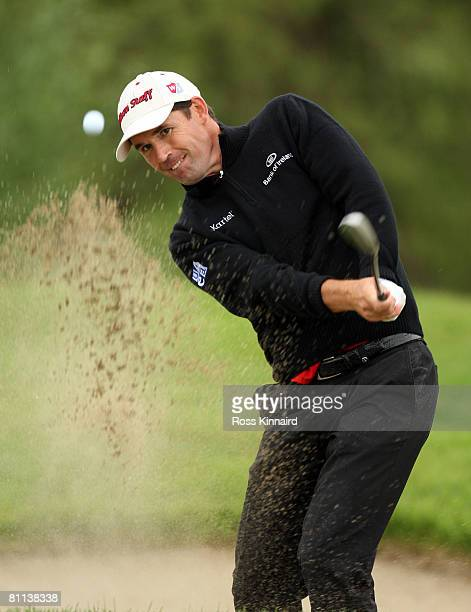 Padraig Harrington of Ireland plays his second shot on the par four three 6th hole during the final round of the Irish Open at Adare Manor on May 18...