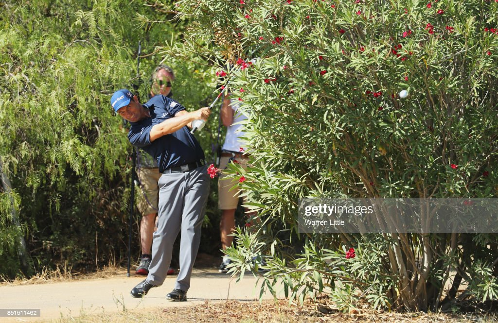 Padraig Harrington of Ireland plays out of trouble on the 9th hole after taking a drop during day two of the Portugal Masters at Dom Pedro Victoria Golf Club on September 22, 2017 in Albufeira, Portugal.