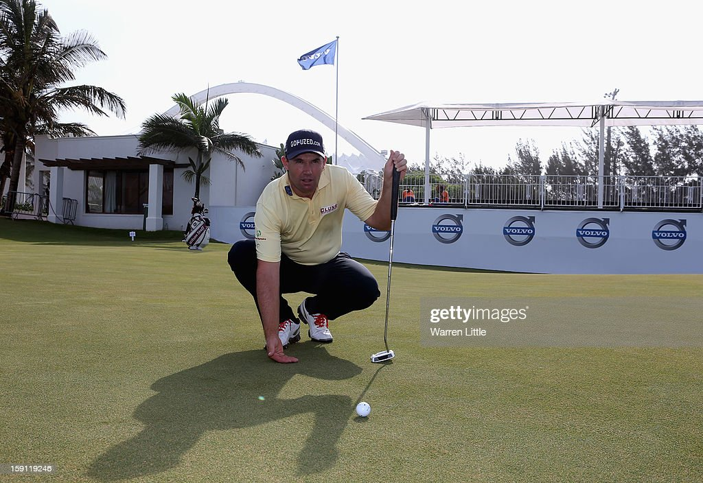 <a gi-track='captionPersonalityLinkClicked' href=/galleries/search?phrase=Padraig+Harrington&family=editorial&specificpeople=175865 ng-click='$event.stopPropagation()'>Padraig Harrington</a> of Ireland poses for a picture on the 18th green ahead of the Volvo Golf Champions at Durban Country Club on January 8, 2013 in Durban, South Africa.