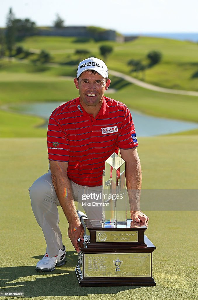 Padraig Harrington of Ireland poses with the trophy after winning the PGA Grand Slam of Golf at Port Royal Golf Course on October 24, 2012 in Southampton, Bermuda.