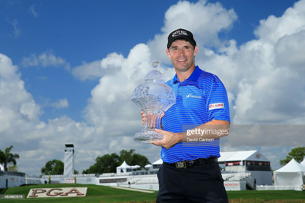 Padraig Harrington of Ireland poses with the trophy after winning The Honda Classic at PGA National Resort Spa Champion Course on March 2 2015 in...