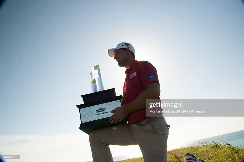 Padraig Harrington of Ireland poses with the trophy during the Award Ceremony at The Port Royal Golf Club for the 30th Grand Slam of Golf on October 24, 2012 in Southampton, Bermuda.