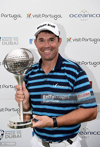 Padraig Harrington of Ireland poses with the trophy following his victory during day four of the Portugal Masters at Victoria Clube de Golfe on...