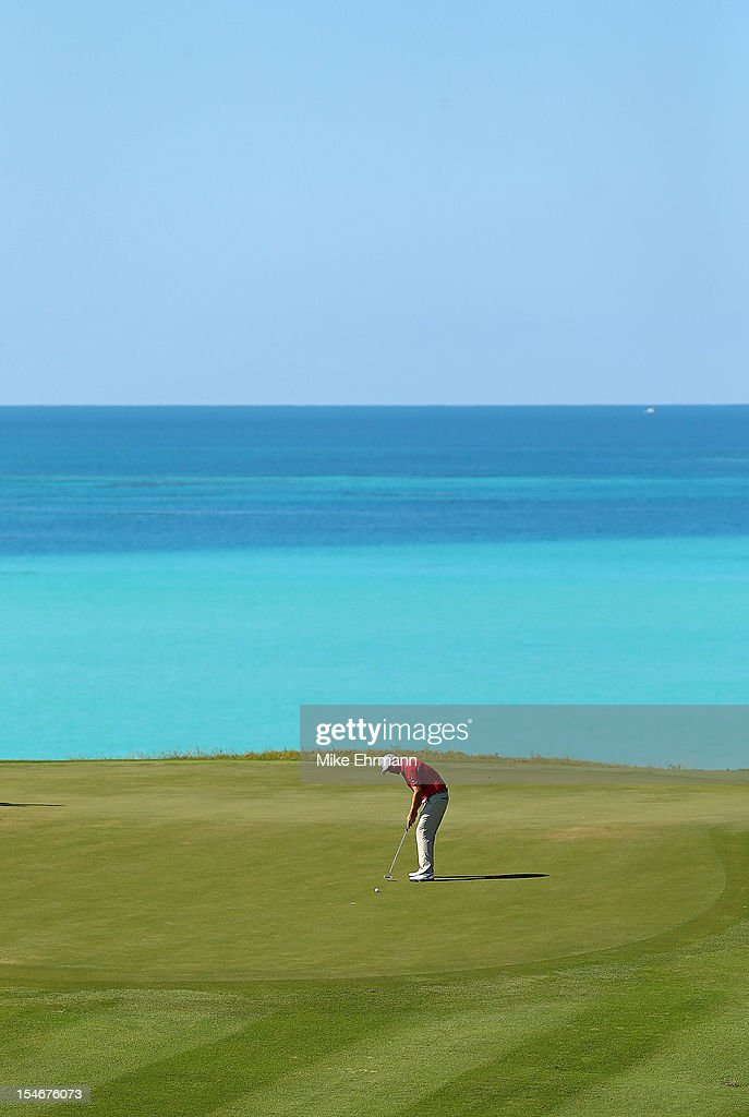 Padraig Harrington of Ireland putts on the 16th hole during the final round of the PGA Grand Slam of Golf at Port Royal Golf Course on October 24, 2012 in Southampton, Bermuda.
