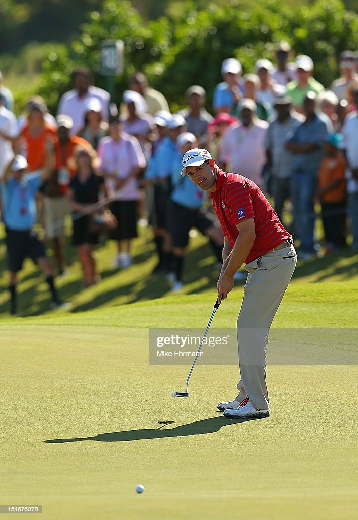 Padraig Harrington of Ireland putts on the 18th hole during the final round of the PGA Grand Slam of Golf at Port Royal Golf Course on October 24, 2012 in Southampton, Bermuda.