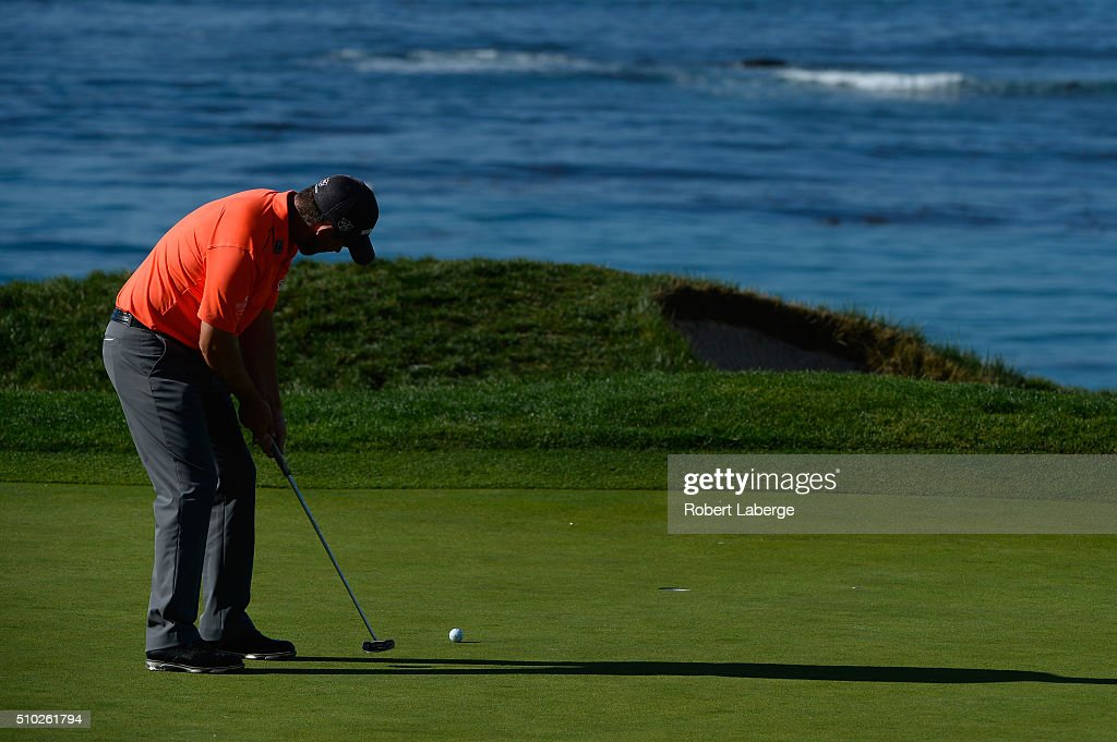 <a gi-track='captionPersonalityLinkClicked' href=/galleries/search?phrase=Padraig+Harrington&family=editorial&specificpeople=175865 ng-click='$event.stopPropagation()'>Padraig Harrington</a> of Ireland putts on the fourth green during the final round of the AT&T Pebble Beach National Pro-Am at the Pebble Beach Golf Links on February 14, 2016 in Pebble Beach, California.