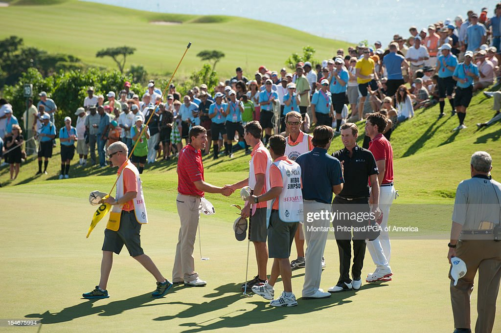 Padraig Harrington of Ireland shakes hands with caddies after the final round of play at The Port Royal Golf Club for the 30th Grand Slam of Golf on October 24, 2012 in Southampton, Bermuda.
