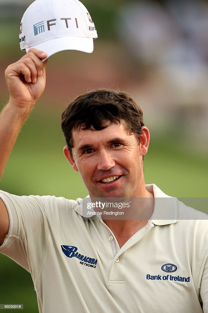 Padraig Harrington of Ireland smiles at the crowd on the 17th hole during the second round of the Dubai World Championship on the Earth Course...