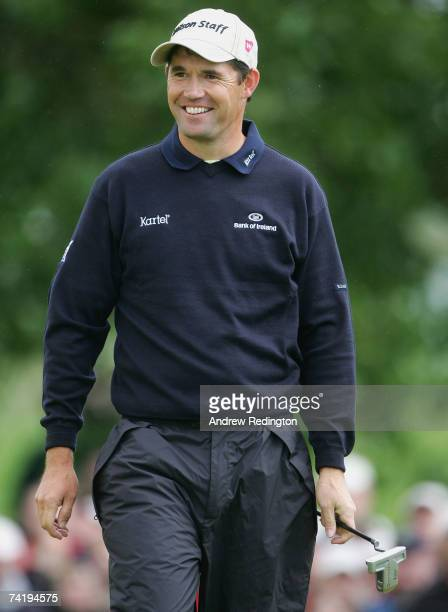 Padraig Harrington of Ireland smiles on the 14th hole during the third round of the Irish Open on May 19 2007 at the Adare Manor Hotel and Golf...
