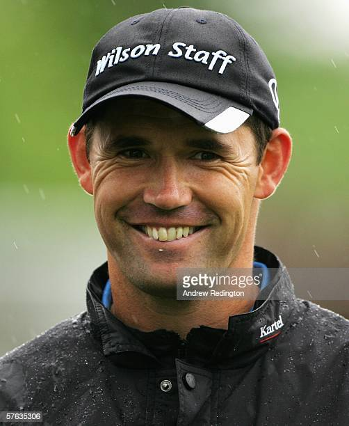 Padraig Harrington of Ireland smiles on the first hole during the ProAm at the Nissan Irish Open on The Montgomerie Course at Carton House Golf Club...