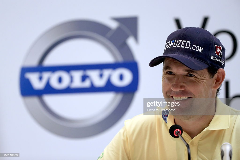 <a gi-track='captionPersonalityLinkClicked' href=/galleries/search?phrase=Padraig+Harrington&family=editorial&specificpeople=175865 ng-click='$event.stopPropagation()'>Padraig Harrington</a> of Ireland speaks to the media during a press conference for the Volvo Golf Champions at Durban Country Club on January 8, 2013 in Durban, South Africa.