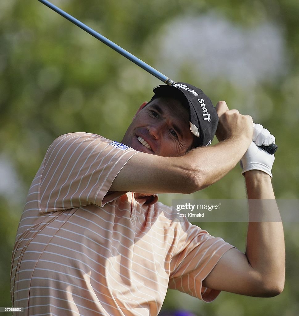 Padraig Harrington of Ireland tees off on the par five 15th hole during the second round of The Quinn Direct British Masters being played on the...