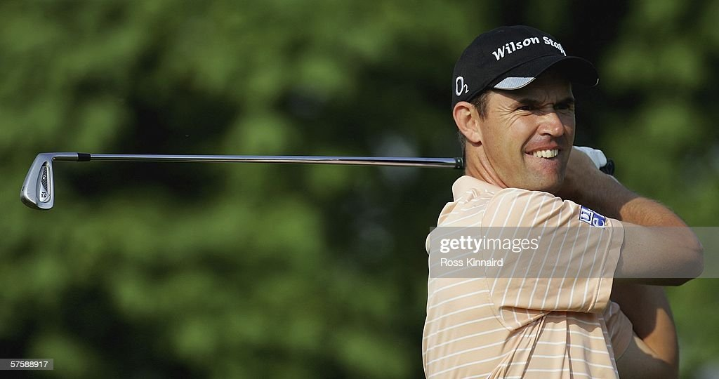 Padraig Harrington of Ireland tees off on the three 12th hole during the second round of The Quinn Direct British Masters being played on the...