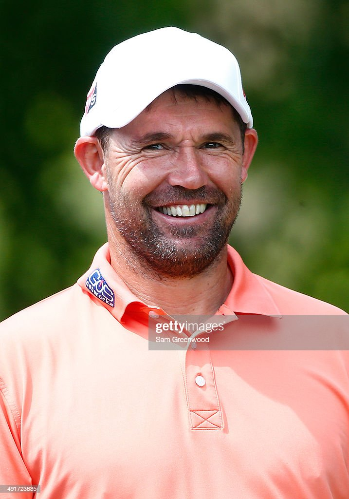 Padraig Harrington of Ireland waits to play his shot on the first tee during the third round of the HP Byron Nelson Championship at the TPC Four...