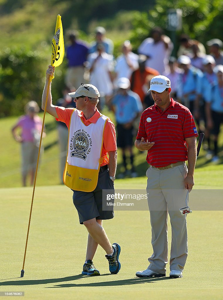 Padraig Harrington of Ireland waits to putt on the 18th hole during the final round of the PGA Grand Slam of Golf at Port Royal Golf Course on October 24, 2012 in Southampton, Bermuda.