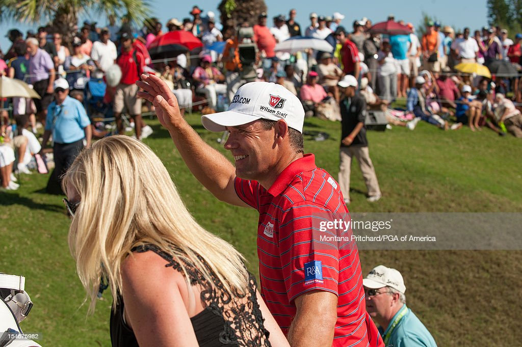 Padraig Harrington of Ireland waves to the crowd after the final round of play at The Port Royal Golf Club for the 30th Grand Slam of Golf on October 24, 2012 in Southampton, Bermuda.