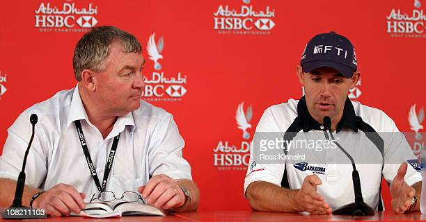 Padraig Harrington of Ireland with European Tour senior referee Andy McFee during a press conference after being disqualified before his second round...