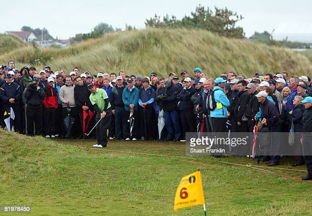 Padraig Harrington of the Republic of Ireland plays a shot from the rough on the 6th hole during the second round of the 137th Open Championship on...