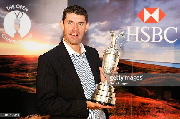 Padraig Harrington poses for photographs during the HSBC Ultimate Open 18 media launch at Canary Wharf on July 4 2011 in London England