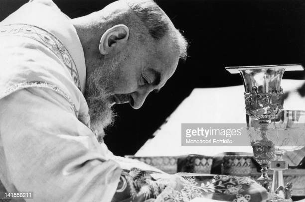 Padre Pio of Pietrelcina celebrating Mass San Giovanni Rotondo May 1966