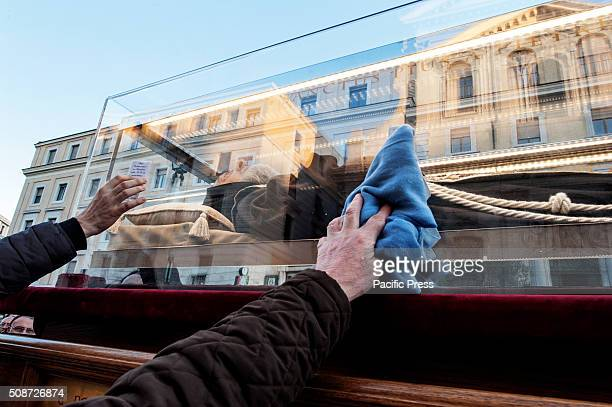 Padre Pio's remains are carried from San Salvatore in Lauri to San Pietro and will remain there for the pilgrims until the 11th The pilgrims touch...