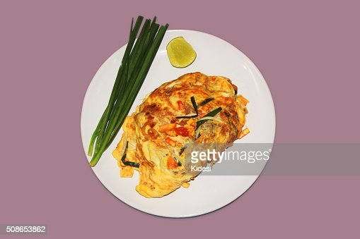 'PadThai' Thai Fried Noodles in Egg Wrap : Stock Photo