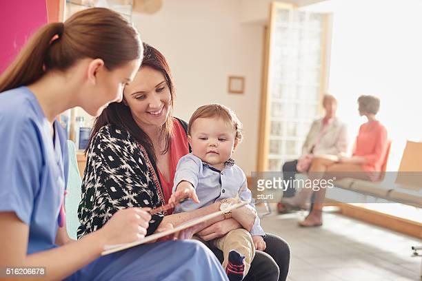 paediatric nurse and patient