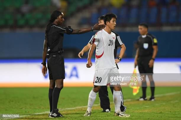 Paek Kwang Min of Korea DPR is sent off during the FIFA U17 World Cup India 2017 group D match between Spain and Korea DPR at the Jawaharlal Nehru...