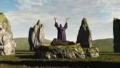 Pagan druid sacrifice in an ancient stone circle, 3d digitally rendered illustration.