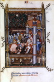 Pagan priests welcome Sisinnius at the gates of Paris 1317 Manuscript illustration from a work on the life of St Denis written by Yves a monk at the...