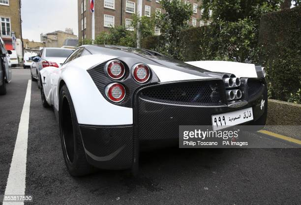A Pagani Huayra oustide the Park Tower Hotel in Knightsbridge in London as August sees hundreds of superrich Middle Easterners flying in from...