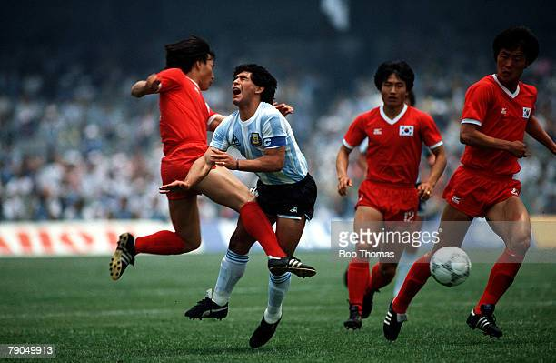 VOLUME 2 Page 13 picture 3 SPORT Football World Cup 1986 in Mexico City Argentina v South Korea Argentinas DIEGO MARADONA suffers injury after being...