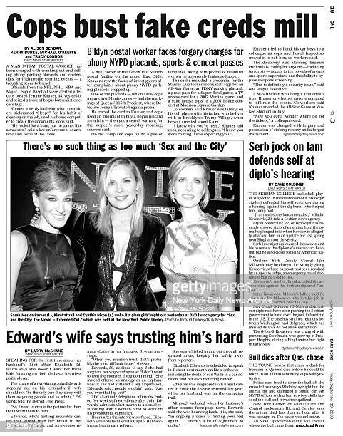 page 19 from the Daily News of September 19 headline main story Cops bust fake creds mill headline There's No such thing as too much 'Sex and the...