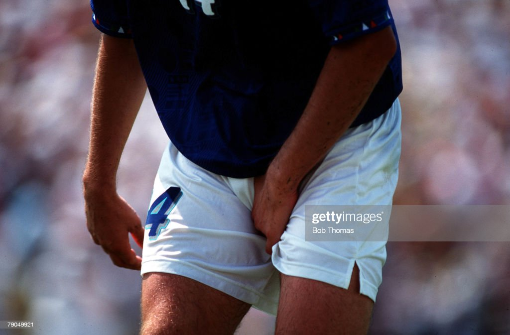 VOLUME 2, Page 8 picture 4, SPORT, Football, World Cup final 1994, Pasadena, USA, Brazil v Italy, Nicola Berti of Italy clutches a groin injury after a painful blow